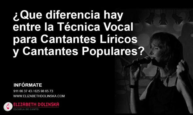 difenrencia tecnica vocal canto lirico canto popular